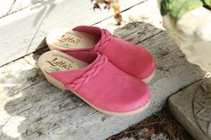 COMING SOON pink nubuck classic clogs with braid