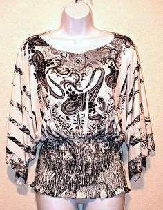 Design Works Casual Kimono Sleeve Paisley Print Women's Top Blouse Size M #DesignWorks #Blouse #Casual