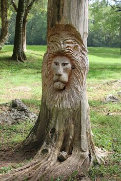 Tim Tingle's Carvings at Orr Park in Montevallo AL by Deep Fried Kudzu Chainsaw Wood Carving, Wood Carving Faces, Tree Carving, Wood Carvings, Green Man, Tree Sculpture, Lion Sculpture, Tree Faces, Wood Images