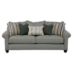 Sink into everyday comfort with the casual style of the Bailey. Enjoy the cushiony support of environmental friendly 1.9 lb density foam cushions. It is upholstered in a durable linen. and includes designer accent pillows in different patterns and sizes.Features:Upholstery Durable linen upholster...
