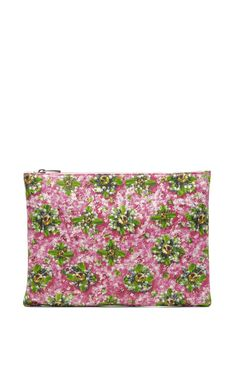 sparkly pink and green clutch