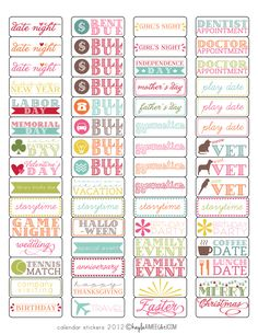 Free Calendar Labels. Print on Avery 1895 Labels to use in your planner.