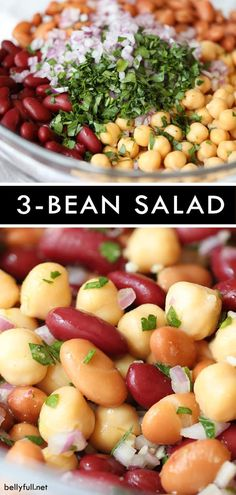This Three Bean Salad is a ridiculously easy and healthy side salad that requires no cooking comes together in 15 minutes and for under 5 00 - so colorful and great for potlucks 3 Bean Salad, Bean Salad Recipes, Healthy Salad Recipes, Vegetarian Recipes, Healthy Bean Salads, Bean Salad Vegan, Chickpea Salad, Sandwich Recipes, Healthy Cooking