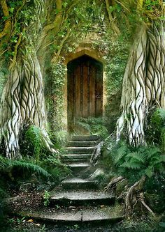 """The Secret Door by Angie Latham """"Inspired like a lot of my work, by the book The Secret Garden. I am facinated by the notion of secret doors which may lead to magical experiences or new adventures."""" I like both the art and her thoughts."""