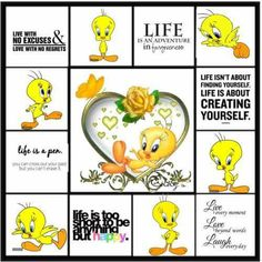 An art collage from May 2011 Bird Pictures, Cool Pictures, Tweety Bird Quotes, Good Morning God Quotes, Create Yourself, Finding Yourself, Favorite Cartoon Character, My Buddy, Cricut Creations