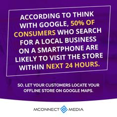 According to #ThinkWithGoogle, 50% of #Customers 👥 who search for #LocalBusiness 🏬 on their #Smartphone are likely to visit in the next 24 hours.🚶 So, Let your #Magento2 customers locate your offline store 🛒on #GoogleMap 🗺️. Download now: Think With Google, Site Hosting, User Interface, Physics, Smartphone, Let It Be, Search, Research, Physique