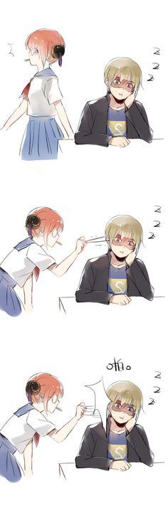Tags: Anime, Gin Tama, Okita Sougo, Hair Buns, Kagura (Gin Tama), Hand On Cheek, 13knight