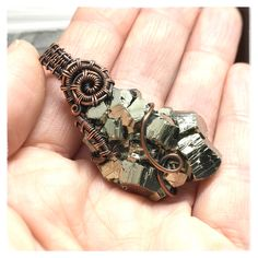 Raw Pyrite Crystal Cluster custom wrapped for a healer. This wire weave is completely one of a kind.  To request your own custom healing crystal pendant, go to www.DoodlepunkArt.etsy.com  #customjewelry #rawcrystaljewelry #custompendant #rawcrystalpendant #pyrite #pyritependant #pyritejewelry #rawpyrite #pyritecrystals #rawpyritejewelry #rawpyritependant #wireweave #crystaljewelry #crystalpendant #hippiejewelry #handmadejewelry #madeinwa #madeinusa #madeinwashington #handmadewithlove Raw Gemstone Jewelry, Healing Crystal Jewelry, Copper Jewelry, Hand Jewelry, Etsy Jewelry, Crystal Cluster, Crystal Pendant, Raw Gemstones, Healer