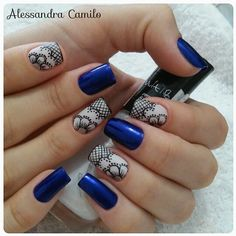 581 Me gusta, 12 comentarios - Alessandra Camilo SC (@alescamilo_) en Instagram Blue Nails, Matte Nails, Pearl And Lace, Fancy Nails, Mani Pedi, Nailart, Nail Designs, Make Up, Pretty