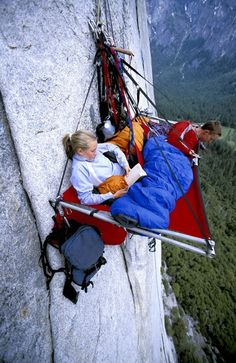 Portaledge Camping, Yosemite, California    This is my nightmare!!!! I think I would fall off but it would be a pretty view at night with the stars.  Also, who the heck took this picture?  Spiderman???