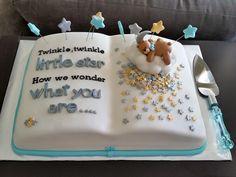 Twinkle twinkle little star baby boy shower cake -book theme.