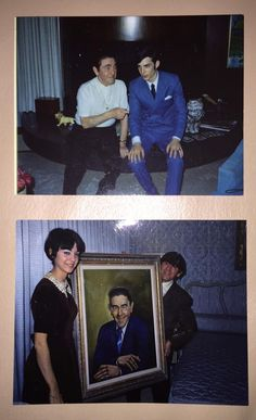 The bottom photo is Moe Howard with a portrait of himself. In the top photo, I'm not sure who the fellow is with Moe.
