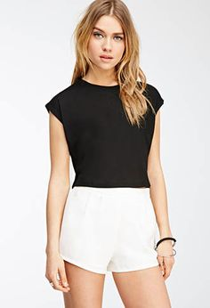 Black Rib Knit Cuff-Sleeve Crop Top | FOREVER21 - 2000117249 $8
