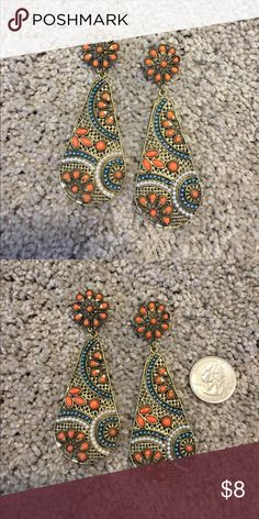Flashy and cute earrings Large, fun earrings. Definitely a statement piece! Great condition!  Don't forget to bundle and save! Jewelry Earrings