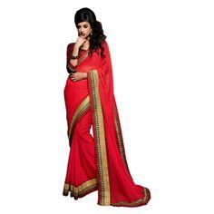 Designer Red Georgette & Chiffon Zari Work Saree-Yukti11036(RT-Yukti)
