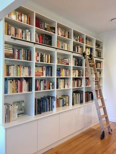 A rolling ladder installation by one of our lovely customers. A rolling ladder installation by one of our lovely customers. Home Library Rooms, Home Library Design, Library Wall, Home Libraries, Home Office Design, Home Design, Library Ladder, Dream Library, Office Decor