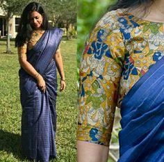Dark blue and kalamkari blouse Saree Blouse Patterns, Saree Blouse Designs, Kalamkari Blouse Designs, Saree Styles, Blouse Styles, Beautiful Blouses, Beautiful Saree, Stylish Blouse Design, Simple Sarees