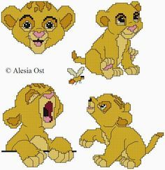 """Upon Kayla's request I've elaborated some patterns of Baby Simba from Disney's """"The Lion King"""". Simba Bebe, Baby Simba, Lion King Baby, Disney Lion King, Hama Disney, Cross Stitching, Cross Stitch Embroidery, Stitch Character, Disney Cross Stitch Patterns"""