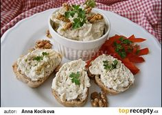 Pomazánka s Nivou a vlašskými ořechy recept - TopRecepty.cz Cooking Tips, Cooking Recipes, Feta, Potato Salad, Brunch, Food And Drink, Appetizers, Yummy Food, Treats
