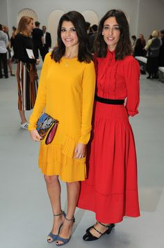 Natalie Anderson (L) and presenter Laura Jackson attend the Jasper Conran show during London Fashion Week Spring/Summer collections 2017 on September 17, 2016 in London, United Kingdom.