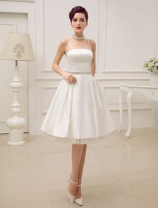 Vintage Spaghetti Straps Backless Satin Short Wedding Dress with Pearls At Waist