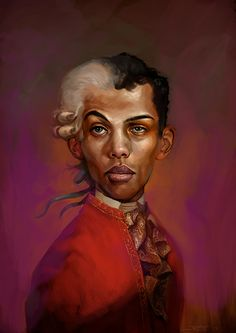 Stromaedeus by Rudy Faber. Portrait of Belgian artist/musician Stromae depicted as Wolfgang Amadeus Mozart. The half wig is a reference to Stromae's song and video Tous Les Memes in which he plays the roles of a stereotypical male and female character. Stromae is depicted as Mozart because he has repeatedly been hailed as a musical genius.