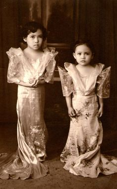 Studio portrait of two girls wearing terno. Philippines Dress, Philippines Culture, Manila Philippines, Filipiniana Dress, Filipino Fashion, Philippine Holidays, Filipino Culture, Two Girls, Women In History