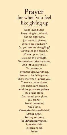 Prayer for giving up