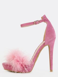 Online shopping for Feather Ankle Strap Heels MAUVE from a great selection of women's fashion clothing & more at MakeMeChic. Pink High Heels, Pink Pumps, Stiletto Pumps, Pink Shoes, High Heels Stilettos, Peep Toe Pumps, Toe Shoes, Ankle Strap Heels, Ankle Straps