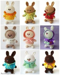 "Aren't they cute? The pattern is free on ""How to Amigurumi""."