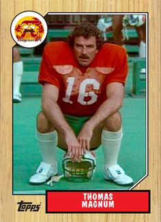 One More Summer TV episode Magnum joins a pro football team to help a friend who may be the target of a murderer. Show: Magnum, P. Episode number: 17 Air date: February 1982 Pro Football Teams, Football Helmets, Remember The Titans, Magnum Pi, Tom Selleck, Fun Cards, Collector Cards, February 11, Cult Movies