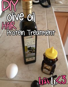 DIY Olive Oil HAIR Protein Treatment: 1/2 cup of olive oil, 1/4 cup of honey and an egg yolk!
