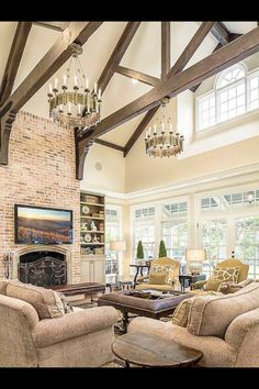 35 Living Room With Exposed Wood Beams To Try This Year Wohnzimmer mit Holzbalken Style At Home, Home Living Room, Living Room Designs, Living Area, Cottage Living, Living Spaces, Brick Fireplace, Stone Mantle, Fireplace Doors