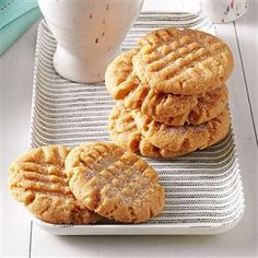 Peanut Butter Cookies Recipe -It is amazing how much flavor these simple peanut butter cookies have. I make them very often because I always have the ingredients on hand. —Maggie Schimmel, Wauwatosa, Wisconsin
