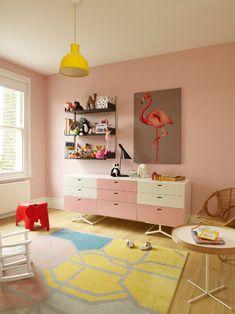 yellow + pink girls room