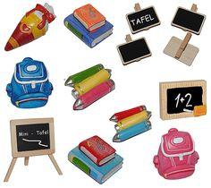 3-D Figur Ranzen / Rucksack - Tischdeko aus Kunstharz zur Schuleinführung Einschulung Schulanfang Deko Zuckertüte