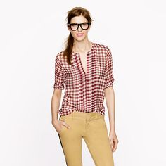 Collection pleated chiffon blouse in gingham