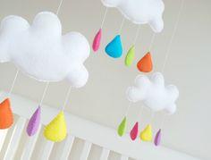 A little fall of rain Little Falls, White Clouds, Pretty Baby, Rain Drops, Hand Stitching, Kids Room, Hanger, Felt, Nursery