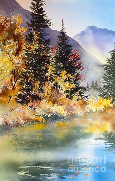 Mountain Lake Painting - Mountain Lake by Teresa Ascone Watercolor Painting Techniques, Watercolor Landscape Paintings, Watercolor Trees, Landscape Art, Lake Painting, Mountain Landscape, Scenery, Fine Art, Nature