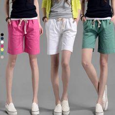 2016 Summer Women Candy Color Shorts elastic Waist Casual Cotton Linen Short Pants Plus Size  #Affiliate