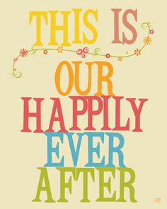 Wedding wall art print typography poster happily ever by HoneyBoo, $15.00