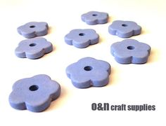 Flower greek ceramic beads blue beads  set of 8 by OandN on Etsy, $3.50 #ceramicbeads #jewelrysupplies #beads
