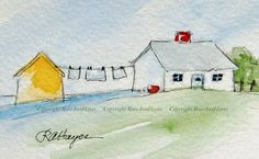 Laundry Day Watercolors #LandscapeWatercolor