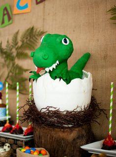 Boys Dinosaur Themed Birthday Party Dessert Cake Food Ideas