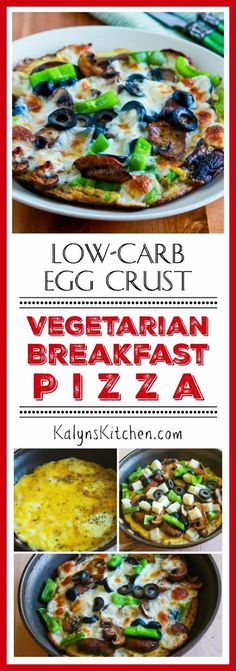 Low-Carb Egg-Crust Vegetarian Breakfast Pizza; this delicious low-carb breakfast is also gluten-free and it only takes minutes to make!  [found on KalynsKitchen.com]
