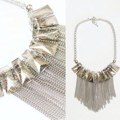 collar cadenas y cristal plateado