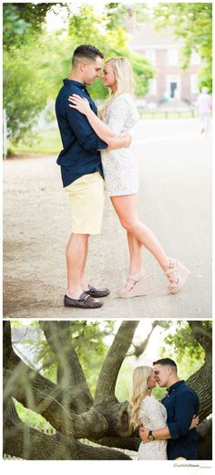 """""""Brittany & TJ - Williamsburg Engagements"""" A beautiful couple captured in Colonial Williamsburg, VA by Elizabeth Henson Photos. #VirginiaPhotographer #EngagementPhotos #EngagementSession"""