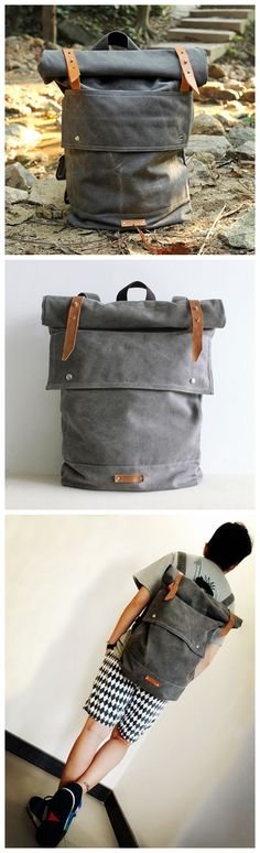 Waxed Canvas Travel Backpack Hiking Waterproof Rucksack School Backpack Large Backpack Laptop Bag