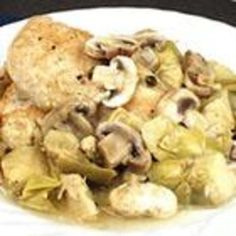 Chicken with Artichokes and Mushrooms - I would not use marinated artichokes though.