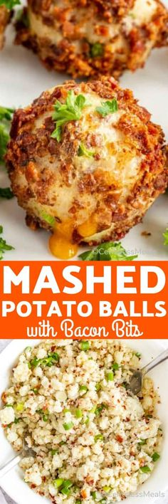 Mashed potato balls with bacon and cheese is the perfect recipe for leftover potatoes. Potatoes are mixed with bacon bits, stuffed with cheese, and rolled in even more bacon bits before being oven baked until the cheese oozes out. This delicious appetizer is best topped with gravy or served with a dipping sauce! #centeslessmeals #mashedpotatoballs #comfortfoods #appetizer #leftoverpotatoes #sidedish Potato Dishes, Vegetable Side Dishes, Vegetable Recipes, Potato Recipes, Yummy Appetizers, Appetizer Recipes, Leftover Potatoes, Leftover Rice, Loaded Mashed Potatoes